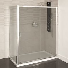 The Aqualine™ 1000 sliding door combined with a side panel to form a full shower enclosure. Please note: Image shows 1600 version only. View This Product's Installation Instructions Glass Shower Doors, Glass Door, Bathroom Shower Enclosures, Electric Showers, Ideal Bathrooms, Better Bathrooms, Shower Cabin, Shower Cubicles, Attic Bathroom