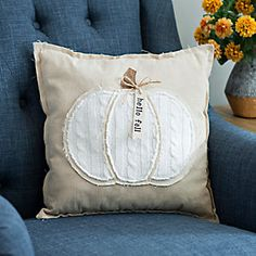 Welcome in the season in cozy festive style with our Hello Fall Cable Knit Pumpkin Pillow. A comfy cable knit pumpkin makes this a great décor accent. Buy Pillows, Fall Pillows, Throw Pillows, Burlap Pillows, Pumpkin Pillows, Vogue Knitting, Perfect Pillow, Hello Autumn, Fall Pumpkins