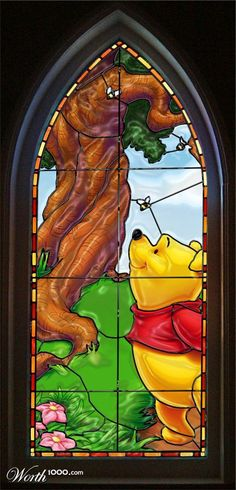 Winnie the pooh stain glass Disney Stained Glass, Stained Glass Art, Stained Glass Windows, Mosaic Glass, Winne The Pooh, Winnie The Pooh Friends, Disney Winnie The Pooh, Disney Pixar, Disney Art
