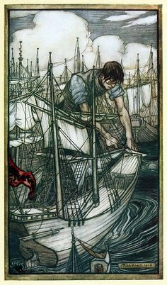 Gulliver seizes the ennemy's fleet.    Arthur Rackham, from Gulliver's travels into several remote nations of the world, by Jonathan Swift, London, 1899.