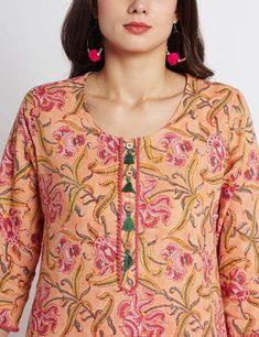 Hand block printed ethnic long Indian kurta with pompom trims | Etsy