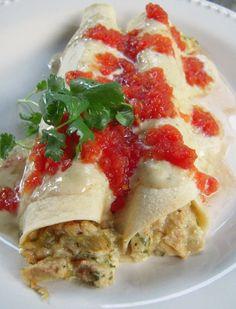Salsa Verde Chicken Enchiladas - no cream of anything soup