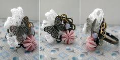 anillo romantico con flor hecha de fimo