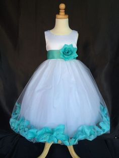 Tiffany Blue Flower Girl Bridesmaids Weeding Pageant Elegant Girl Dress #0034