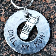 Pet ID Tag/Tags, Dog Tag, Dog Collar Tag, Personalized, Pet Charm, Keychain, Hand Stamped .... Call My Mom. $11.00, via Etsy.