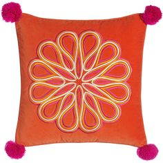Trina Turk Caribbean Orange Scroll Medallion Pillow (600 MYR) ❤ liked on Polyvore featuring home, home decor, throw pillows, orange toss pillows, tangerine throw pillows, trina turk home decor, orange home decor and trina turk