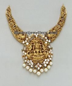 Lakshmi Peacock Floral Necklace - Jewellery Designs