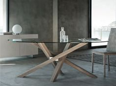 ROUND WOOD AND GLASS TABLE SHANGAI | WOOD AND GLASS TABLE | RIFLESSI