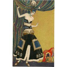 Art Deco Fashion Postcard by Italian Artist Marco Montedoro Metallic Gold Hand Detailing -- found at www.rubylane.com #VintageBeginsHere #MonthlyFinds #vintage #artdeco #tbt