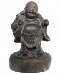 A dense ceramic is used to create this Happy Buddha statue. Looks and feel like bronze metal, the statue measures 15 inches high and 10 inches wide. The statue has dusty highlights to give it an antique look. Intentional small cracks, dents and chips further enhance the artistic antique appearance of the statue. The image of the Laughing Buddha is based on a wandering Chinese monk, Budai (Hotei, in Japanese) who lived centuries ago and is believed to be Maitreya, or the Buddha to come.