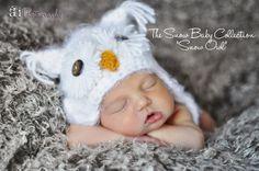 ORIGNIAL White Fuzzy Snow Owl Hat Size Newborn by NitaMaesGarden, $34.95