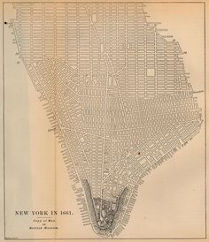 Title: New York City Date: 1661 Original Source: Report on the Social Statistics of Cities, Compiled by George E. Waring, Jr., United States. Census Office, Part I, 1886 Publication Date: 1886 Web Source: Perry-Castaneda Library Map Collection - U.S. Historical City Maps http://www.themapdatabase.com/category/location/north-america/united-states/new-york/
