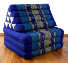 3 Fold Thailand Mattress with XXL Jumbo Asian Triangle Cushion / Headrest & 100% Kapok Filling for Wellness and Relaxation (blue)