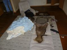 Human decomposition stain left on a mattress after the body was removed.