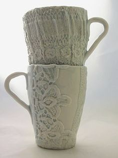 "an example/possible image of the kind of specialty work my heroine Julie likes to do. Click Site above pin for more: ""Crochet/Lace porcelain mugs"""