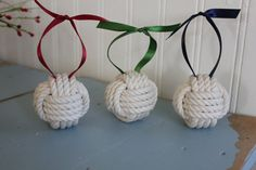 Nautical Christmas set of 3 ornaments by highplainsknotwork