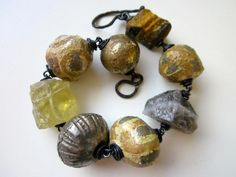 Another Question - primitive assemblage chunky bronze silver gold ceramic art bead, antique trade bead, yellow lemon quartz, copper bracelet by LoveRoot