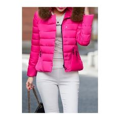 Rotita Faux Fur Decorated Rose Hooded Collar Down Jacket ($44) ❤ liked on Polyvore featuring outerwear, jackets, rose, hooded zip jacket, hooded down jacket, collar jacket, zip jacket and pink zip jacket