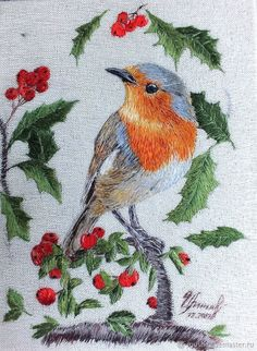 Cushion Embroidery, Embroidery Flowers Pattern, Creative Embroidery, Hand Embroidery Stitches, Crewel Embroidery, Handmade Embroidery Designs, Thread Painting, Birds, Crochet