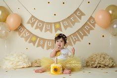 You Are My Sunshine - Cake Smash - CT Family Photography,CT Newborn Photography,Connecticut Newborn Photography,