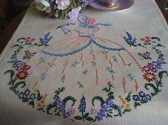 "Stunning Vintage Embroidered Crinoline Lady Panel 13""x13.5"""