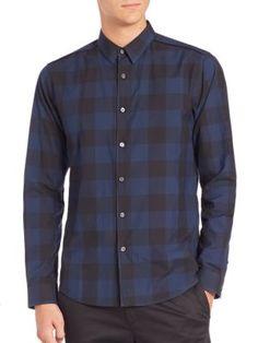 THEORY Gingham Cotton Sportshirt. #theory #cloth #sportshirt