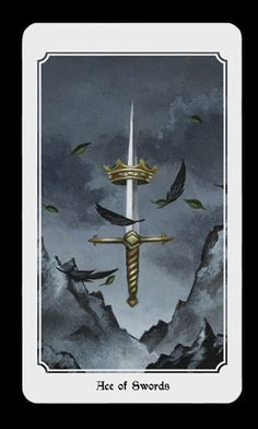 Ace of Swords. From the Anima Mundi tarot deck. Ace Of Swords, Anima Mundi, Sword Tattoo, Online Tarot, Oracle Tarot, Hero's Journey, Pretty Art, Tarot Decks, Archetypes