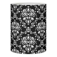 Elegant Black and White Damask Flameless Candle