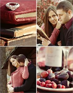 fall vintage engagement pics using old books as props