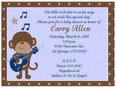 Rock Star Monkey Baby Shower Invitations Party by keepsakeimprints, $12.50
