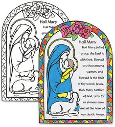 Youth Kids Color Your Own 11 Cardstock Hail Mary Prayers Home Classroom Sunday School Religious Arts  Crafts Activity >>> Want additional info? Click on the image.