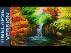 Water Falls In Autumn Forest - Acrylic Painting Tutorial TIMELAPSE VERSION - YouTube