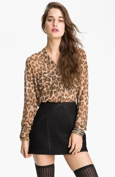 Bought this top at work and I'm totally obsessed! Love it! Free People Animal Print Chiffon Shirt | Nordstrom