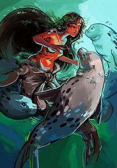 "Selkie illustraiton by Aurore ""Aube"" Peuffier Mythological Creatures, Fantasy Creatures, Mythical Creatures, Mermaid Artwork, Mermaid Drawings, Mermaid Paintings, Fantasy Races, Fantasy Art, Mermaids And Mermen"