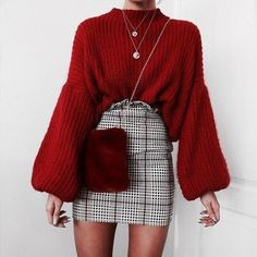 084fe6a7239196 Autumn/Winter: Red mohair wide sleeve jumper + prince of wales check high  waist skirt + layered necklaces + red crossbody pouch