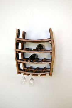 Hanging Wine and Glass Rack - Loire - Made from reclaimed California wine barrels - recycled! Glass Rack, Glass Holders, Bottle Holders, Wine Barrel Furniture, Barrel Projects, Barrel Rings, California Wine, Custom Kitchens, Rustic Elegance