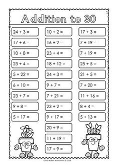 Addition to 30 (varied worksheets) by Olivia Walker Math Addition Worksheets, Free Kindergarten Worksheets, Kindergarten Math Worksheets, Free Printable Worksheets, Maths, First Grade Writing, 1st Grade Math, Grade 1, Math Sheets