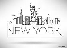"""Descargue el vector libre de derechos """"Linear New York City Skyline with Typographic Design"""" creado por avniunsal al precio más bajo en Fotolia.com. Explore nuestro económico banco de imágenes para encontrar el vector perfecto para sus proyectos de marketing."""