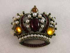 RARE Weiss Red and Gold Cabochon Faux Pearl by newoldjewels