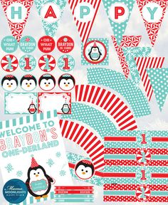 Winter One-Derland Fun To Be One First Birthday Boy Party Printable Package - Penguins, Snowflakes, Peppermint - Aqua, Red. $20.00, via Etsy.