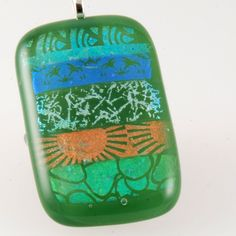 fused dichroic glass pendant  green and golds by bluedaisyglass, £20.00