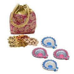 Delightful Diyas With Dry Fruits Potli Diwali Hamper