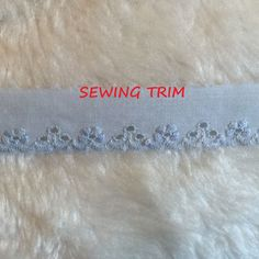 1-1/2 YARDS, Blue Cotton, Flat Sewing Edging Trim, Embroidered Eyelet Flowers, Scallops, 7/8 Inch Wide, L209 by DartingDogCrafts on Etsy