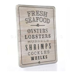 Natural Wooden Vintage Fresh Seafood Sign Plaque Wall decor