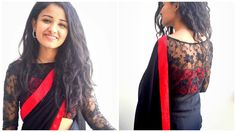 Black georgette saree with red crepe border and black embroidered lace blouse