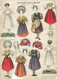 old French paper craft paper dolls
