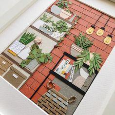 Items similar to Loft poster, a paper collage illustration - Botanical Print / Flowers / Plants / Wall Art / Boho / Boho Design on Etsy