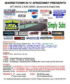 Rc-event-duckydash  Name of Club/Organization:       Barretown R/C Speedway  - Event Name:                 The Ducky Dash  - Event Address:            15  Sherman drive  - Event City And State:     Barre, Vermont  -Event Date:  January 4th and 5th 2013