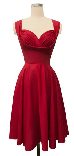 Obsessed!! Trashy Diva Honey Dress | 1950s Dress | Red Poplin