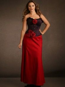 Plus Size Long Stretch Taffeta Skirt, Red